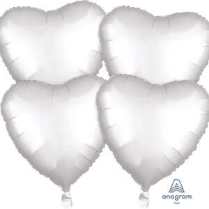 Corazon satin luxe color blanco 18″ – 4ud