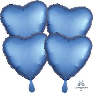 Corazon satin luxe color azul- azure 18″ – 4ud