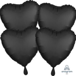 Corazon satin luxe color negro – onyx 18″ – 4ud