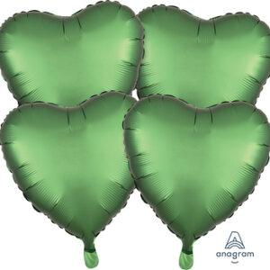 Corazon satin luxe color verde – Emerald  18″ – 4ud