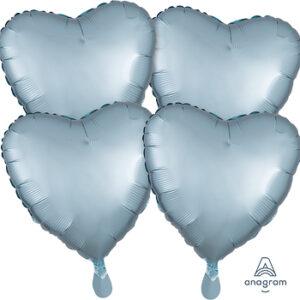 Corazon satin luxe color azul pastel – pastel blue 18″ – 4ud