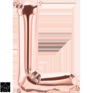 Letra L oro rosa 16 pulgadas